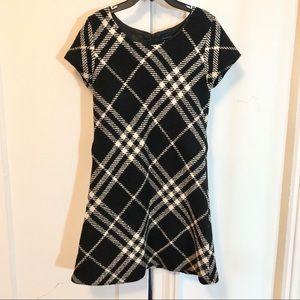Burberry black+white plaid dress, women's XS